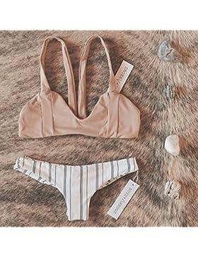 TIANLU Bikini Sexy conjuntos bañador de adelgazamiento trajes de baño Moda Correa Split, Beige,M