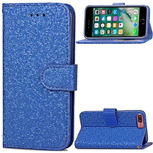 iPhone 7 Plus Coque, Apple iPhone 7 Plus Coque, Lifeturt [ Vert ] Motif Pure Couleur Housse en Cuir Case à Avec La Fonction Stand Coque de Intérieure Protection Souple Coque Portefeuille TPU Silicone  E2-Bleu