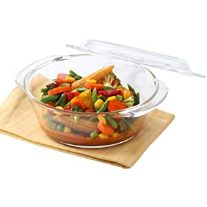 Borosil Glass Casserole Deep Round   Oven And Microwave Safe Serving Bowl With Glass Lid, 2.5L