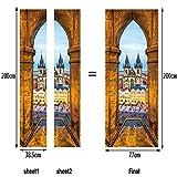 L-com LLL MT040 Türbild Türaufkleber Türposter Prag Platz Kirche Muster PVC Material 3D DIY Selbstklebend Wasserdicht