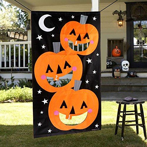 OurWarm Kürbis-Bohnen-Beutel-Wurf-Spiel + 3 Bohnen-Beutel Halloween-Spiele für Familien mit Kindern Spielraum-Spiel-Halloween-Party-Bevorzugungen