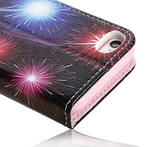 Etsue Diamant Leder Schutzhülle für iPhone 6 Plus/6S Plus [Feuerwerk Himmel] Leder Tasche Case Muster, Bunte Elegant Shining Bling Strass Leder Flip Case Brieftasche mit Standfunktion Magnetverschluss Feuerwerk