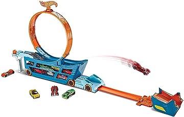 Mattel Hot Wheels DWN56 Stunt N Go Transporter und Trackset