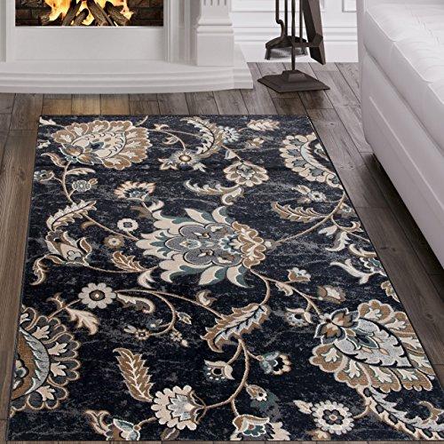Tapiso dubai tappeto salotto orientale soggiorno classico nero tradizionale floreale a pelo corto 80 x 150 cm