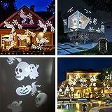 Podofo luci del proiettore di Natale del LED 10 x Patterns lenti mobili Paesaggio Spotlight impermeabile per la parete, giardino, festa, vacanza, Indoor, Outdoor Festival Decorazioni di notte della luce (bianco)