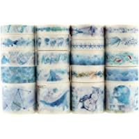 HASTHIP® 20 Rolls Washi Tape Set, Ocean Collection Tape with 3 Sizes 10/15/30mm, Sea-Blue Style Decorative Masking Tapes…