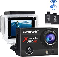 Campark Action Cam 4K Wifi Sports Action Kamera 16MP Ultra Full HD Helmkamera Wasserdicht mit Dual 1050 mAh Batterien und Kostenlose Zubehör Kits