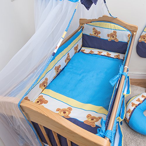 3 Pcs Nursery Bedding Set , All-round Bumper (Fits Cot Bed 140x70 cm, Pattern 9