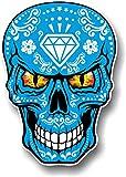 Gótico azul mexicano Azúcar diseño de calavera con Evil ojos novedad vinilo adhesivo coche 100x 70mm
