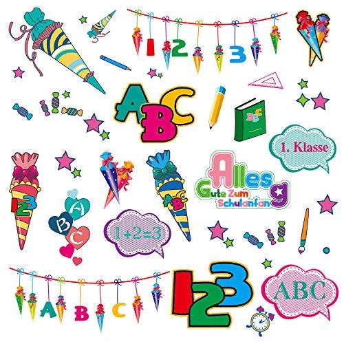 Oblique Unique® Kinder Sticker Set Schule für Schuleinführung Schulanfang Einschulung Aufkleber mit ABC Buchstaben Zahlen Zuckertüte Kindergeburtstag Party Spielen