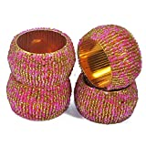 Big Sale Offer Christmas & New Year - Set of 4, Napkin Ring Gold and Pink Beaded Napkin Ring Holders, Birthday, Christmas, Any Occasion Gift - Perfect Home Décor Gift Ideas -Dia 1.5 Inches