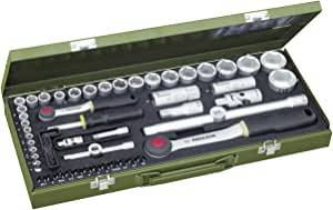 """PROXXON Steckschlüsselsatz, Komplettkasten mit 1/4""""-und 1/2""""-Umschaltratsche sowie Schraubendrehergriff, 56-teiliges Werkzeug-Set mit Stahlkasten, 23040"""