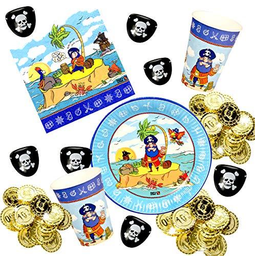 Piraten Teller - Partyset Pirat für 10 Kinder, Teller,
