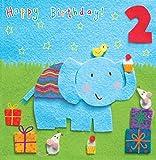 Twizler Karte zum Zweiten Geburtstag Geschenke für Kinder mit Elefant und–Zwei Jahre alt–Alter 2–Kindergeburtstag–Jungen und Mädchen Geburtstagskarte zum Geburtstag–Happy Birthday