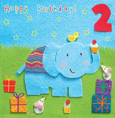 twizler 2nd Birthday für Kind mit Elefant und Presents–Zwei Jahre–Alter 2–Kinder Geburtstag–Mädchen Geburtstag Karte–Jungen Geburtstag–Happy Birthday Karte (Happy Birthday Karten Für Mädchen)