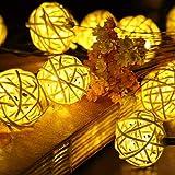SunJas 20 LEDs 4,8 Meter Solar Lichterkette Peddigrohr Garten Globe Kugel Außen Warmweiß Solar Beleuchtung Kugel für Party, Weihnachten, Outdoor, Fest Deko usw. (20 LEDs warmweiß)