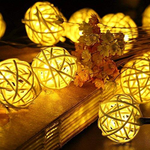 kette, 20 LEDs 4,8 Meter/30 LEDs 6 Meter, Peddigrohr Kugel, Beleuchtung Kugel丨Garten Innen- und Außenbereich warmweiß bunt für Party Weihnachten Outdoor Fest (30 LEDs warmweiß) ()