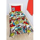 Marvel Comics - Juego de fundas nórdico/edredón Reversible Modelo Justice para niños (Cama de 90/Multicolor)