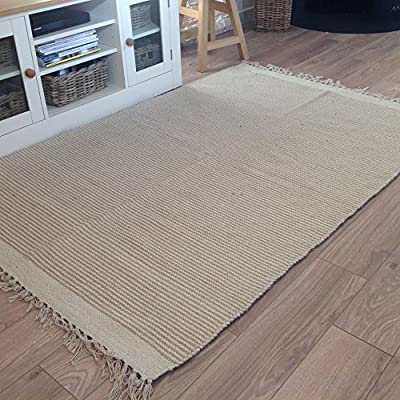 Natural Cotton & Jute Beige Cream Light Pin Stripe Rug 70cm x 130cm (Second Nature) - low-cost UK light store.