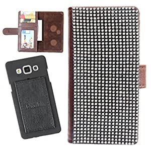DooDa PU Leather Wallet Flip Case Cover With Patterned Rhinestone Glitters in Front And Card & ID Slots For Karbonn A25 +