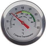 Kompost Thermometer–Edelstahl Zifferblatt Thermometer für Home und Backyard Kompostierung–60mm Durchmesser C & F Zifferblatt, 295mm Temperatur Sonde