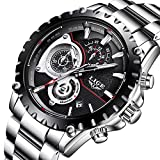 Uhren Herren,LIGE Edelstahl Wasserdicht Sport Analog Quarzuhr Chronograph Datum Kalender Business Casual Luxus Kleid Armbanduhr Uhr Schwarz