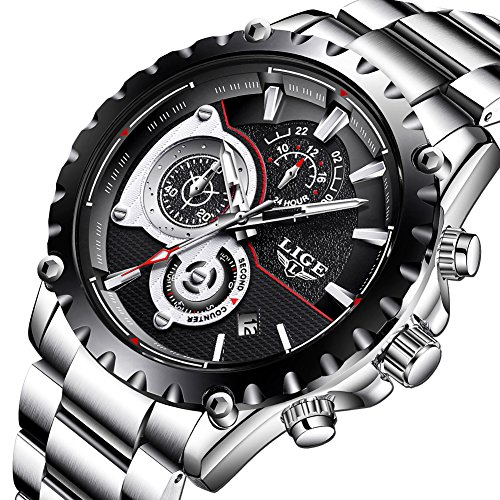 Relojes para Hombres,LIGE Hombres Acero Inoxidable Resistente al Agua Deportes Reloj De Cuarzo Analógico Cronógrafo Fecha Negocios Casual Lujo Relojes de Pulsera Negro