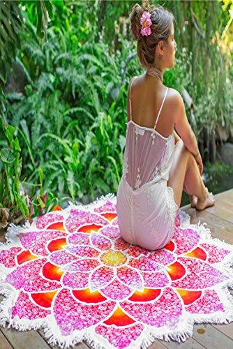 Yiyada Damen Mandala Lotus Mat Yoga böhmische Quaste Sommer Strand Handtuch Cover-up Beachwear Bademode Pareos Strandkleider Rot