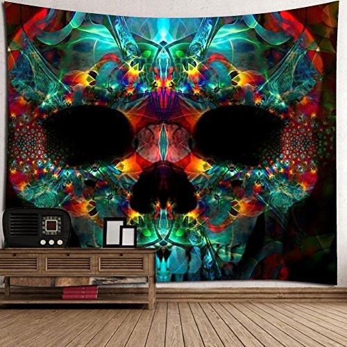 Wandbehang, Halloween festliche Atmosphäre Wandbehang Decke mit grün rot Spuk Skelett Schädel Hippie Print böhmischen Mandala Wanddekorationen Tischdecke Room Decor (60