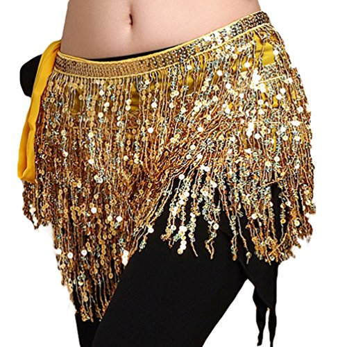 YiJee Bauchtanz Zubehör Taille Bund Sequins Quasten Belly Dance Taille Kette Gold