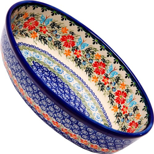 Polish Pottery Ceramika Boleslawiec Oval Mirek Baker 2, 9-2/3-Inch by 6-7/10-Inch, 5 Cups, Royal Blue Patterns with Red Cornflower and Blue Butterflies Motif - Cornflower Blue Cup