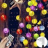 Warmweiß 40 LED Lampions Lichterkette Außen, Gartenbeleuchtung mit Bunt Hänge Laterne, 8 Modi 10M Lampion Lichterkette Erweiterbar mit Stecker,Fernbedienung & Timer für Halloween Weihnachtsbaum Garten