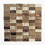 Mosaikfliesen Fliesen Mosaik Küche Bad WC Wohnbereich Fliesenspiegel Braun Glas Stein glänzend 8mm Neu #655