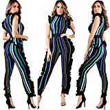 mujeres Striped Jumpsuit, ROUT infly Mujer Sin Mangas volantes Leggings Club Fiesta Casual Traje, color verde XL