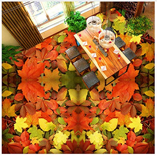 Benutzerdefinierte Boden Wandbild Tapete 3D Maple Leaf Wohnzimmer Badezimmer Vinyl Bodenbelag Wasserdicht Selbstklebende Tapeten Für Wall Rolle 250x175cm -