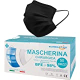50 Mascherine chirurgiche Nere - Made in Italy - Tipo IIR BFE 98% certificae