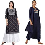 Bae's Wardrobe Rayon Straight Kurti with White Sharara Plazzo for Women & Girls Dress