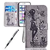 iPhone 6S Case, iPhone 6 Cover, JAWSEU Creative Diamond Girl and Cat Luxury Premium PU Leather Flip Cover for iPhone 6S/6 4.7 Protector Skin with Soft Silicone Case Credit ID Card Slots Magnetic Closure Kickstand Strap Phone Pouch Smartphone Shell Shock-Absorption Protective Wallet Case for iPhone 6S / iPhone 6 + Stylus Pen - Diamond Girl & Cat, Grey