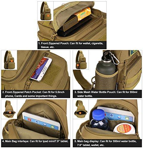 Huntvp Tactical Military Chest Sling Pack Molle Crossbody Bag Unisex Schultertasche Mini Single Strap Rucksack mit Wasser Flasche Halter für Reisen Wandern Camping Braun