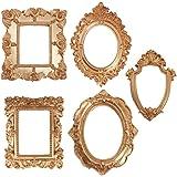 Amosfun 5Pcs Vintage Barocco Ovale Della Struttura Della Foto Da Tavolo Antico Della Decorazione Della Resina Oro Ornato Con