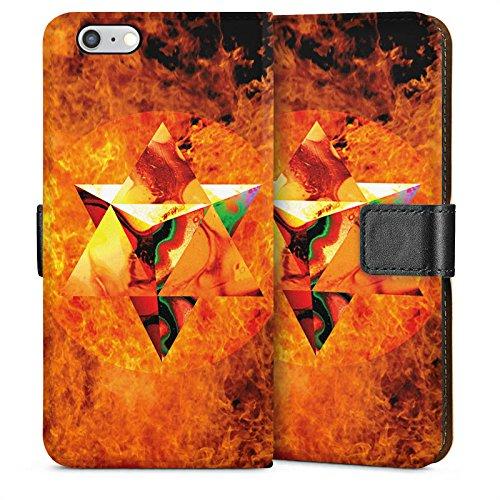 Apple iPhone 6 Housse Étui Silicone Coque Protection Feu Feu Géométrique Sideflip Sac