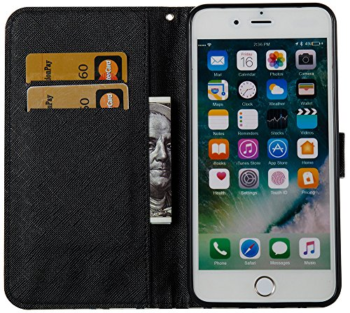 Roreikes Apple IPhone 8 Plus Hülle Leder Flip Case Echt,Apple IPhone 7 Plus Hülle Folio PU Leather Handytasche Brieftasche Schutz Etui Schale Und Weich TPU Silikon, Bunt Gemalt Retro Kreativ Lanyard S Pfau Blume