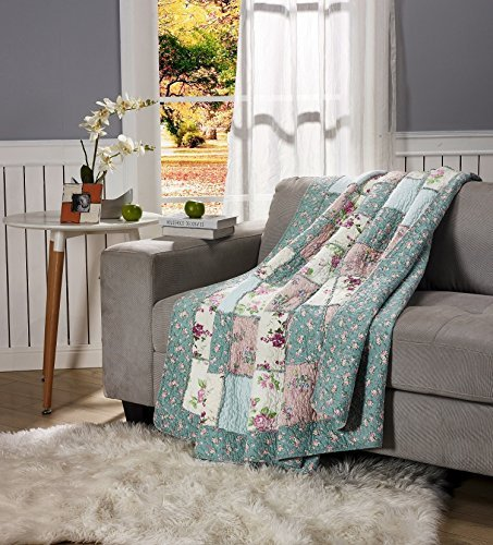 chezmoi Collection 3-teiliges Garten gewaschen Vintage Floral 100% -cotton Wende Patchwork Quilt Set, baumwolle, weiß, Throw -