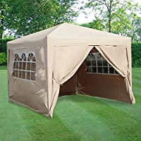 Airwave 3x3mtr Pop Up Waterproof Gazebo in Beige with 4 Leg Weight Bags 19