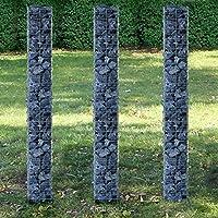 [pro.tec] Set de 3 gaviones (planta cuadrada - 25cm) (3x 200 cm) gavión de piedras