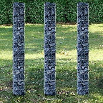 [pro.tec] colonnes - gabions kit de 3 (plan de sol carré - 25cm) (3x 200 cm de haut) gabions pour pierres/haie/