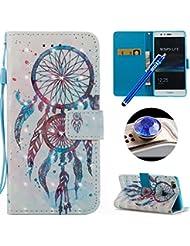 Etsue Cuir Coque Pour Huawei P9 Lite,Huawei P9 Lite Etui Housse Cuir Portefeuille Coque pour Huawei P9 Lite,Fashion Mode Conception Coque Étui avec Fonction de Support Etui Protecteur Portefeuille Cas Magnétique Pochette pour Huawei P9 Lite,Luxe Coque avec Blitter Strass Diamant Colorful Pattern PU Leather Wallet shell With Card Holder Function for Huawei P9 Lite +1 x Bleu stylet + 1 x Bling poussière plug - Campanule Bleu