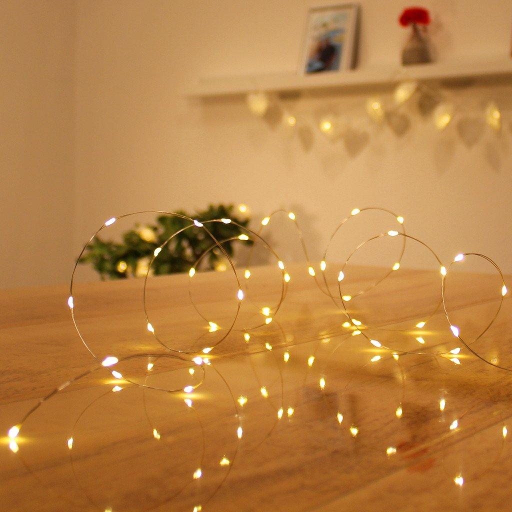 Micro LED lichterkette warmweiß Draht-Lichterkette Leuchtdraht mit ...