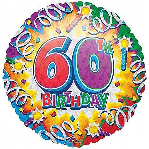 Amscan - Palloncino Compleanno Esplosione di Colori - 60 Anni - 60 ° Compleanno Palloncini