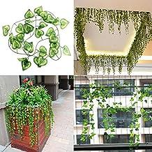 Bluelover 2.3m Artificial Ivy Heart Shape Green Leaves Garland Home Garden (Torta Set Decoration)